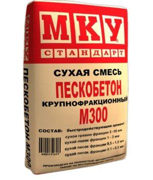 Сухая строительная смесь Пескобетон М 300 МКУ крупнофракционный для стяжки пола