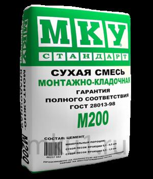Сухая строительная смесь М200 МКУ монтажно-кладочная штукатурка цементная